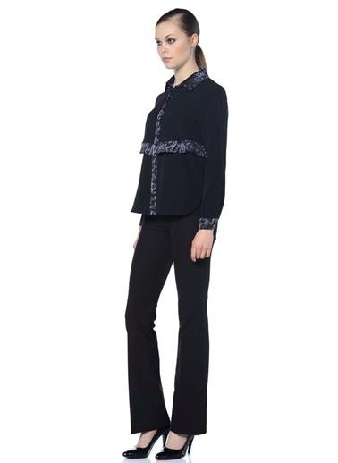 Fabrika Fabrika Desenli Uzun Kollu Kadın Gömlek Siyah